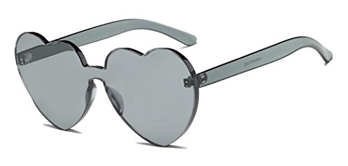 Heart Shape Rimless Sunglasses One Piece Transparent Glasses Fashion Candy - For Shape Glasses Heart