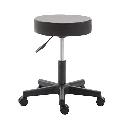 Swivel Drafting Stool – Wahson Black Ergonomic Rolling Chair [Adjustable Height, 15-inch Thick Seat Cushion, 5 Gravity Wheels] for Office Desk, Dental Clinic, Spa, Massage, Hair Salon