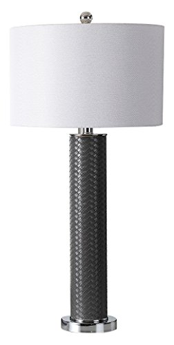 Safavieh Lighting Collection Ollie Grey Faux Woven Leather 31.5-inch Table Lamp (Set of 2) ()
