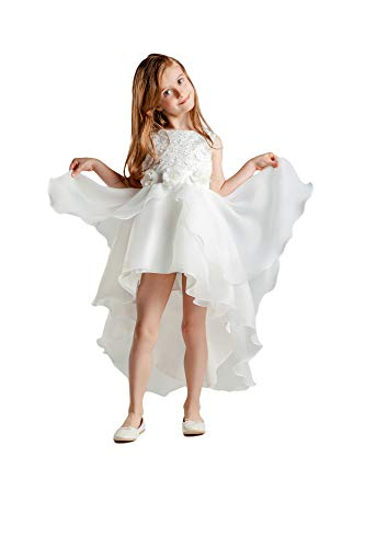 Eastbride Tulle Flower Girls Dresses Appliques for Wedding Birthday Party Pageant Gown with Bow Ivory Size 3 -