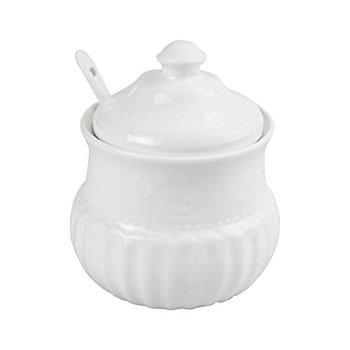 (White Sugar Bowl, Ceramic Sugar Bowl with Lid and Spoon for Home and Kitchen 14 oz)