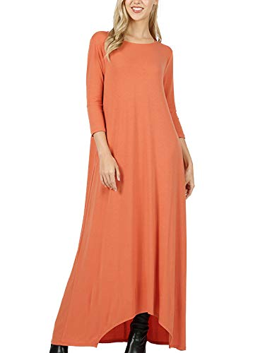MixMatchy Women's 3/4 Sleeve Shark-Bite Hem Casual Loose Fit Maxi Dresses with Side Pockets Ash Copper ()