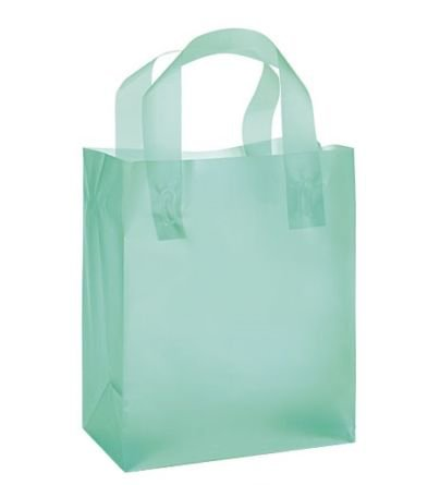 """Aqua Frosted Plastic Gift Bags with Handle (8""""x5""""x10"""") 24 Units"""