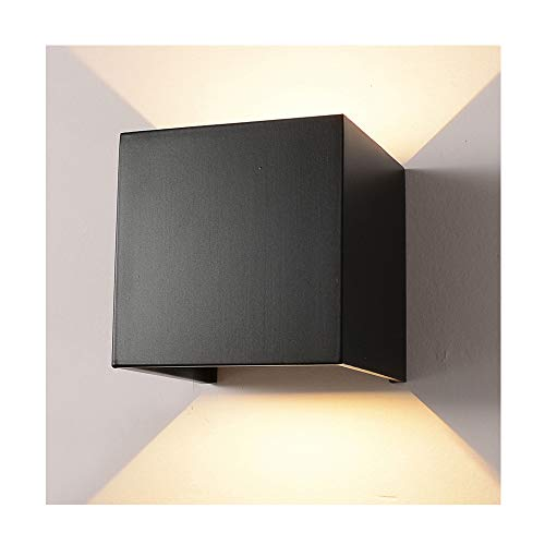 "LED Aluminum Waterproof Wall Lamp,12W 85-225V 3000K Adjustable Outdoor Wall Light Warm Light 3.94"" (Black-warm light)"
