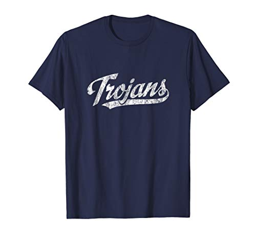 Trojans Mascot T Shirt Vintage Sports Name Tee Design]()