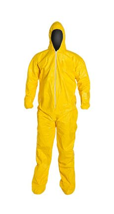 DuPont QC122SYLMD00 Tychem Coverall with Hood and Socks, Medium -