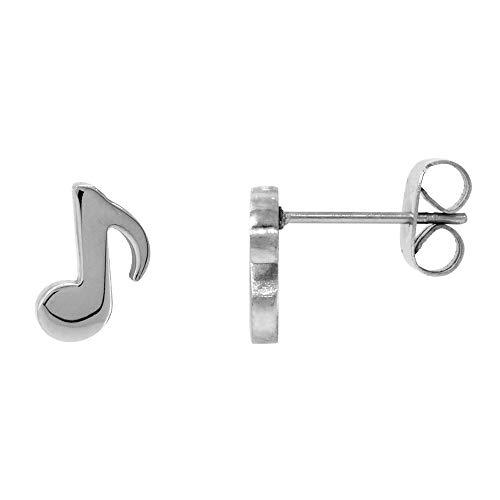 Small Stainless Steel Musical Eighth Note Stud Earrings Quaver Musical Symbol 3/8 inch