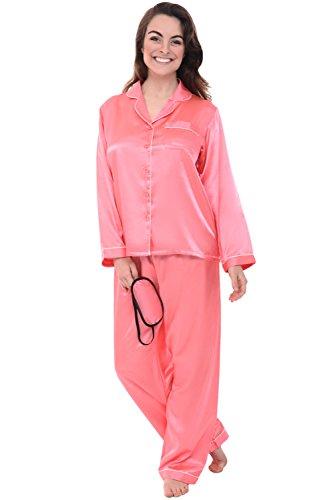 Del Rossa Women's Satin Pajamas, Long Button-Down Pj Set and Mask, Medium Coral (A0750CRLMD)