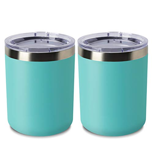 ONEB 12oz/2Pack Double Wall Vacuum Insulated Travel Mug, Stainless Steel Tumbler with Lid, Durable Powder Coated Insulated Coffee Cup for Cold & Hot Drinks (Light Blue 2pack)