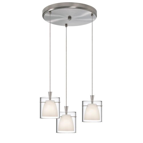 Pendant Gold Clear Satin (Dainolite Lighting DLSL309-12R-WH-SC 3-Light Round Pendant, White Frosted and Clear Glass, Satin Chrome Finish)
