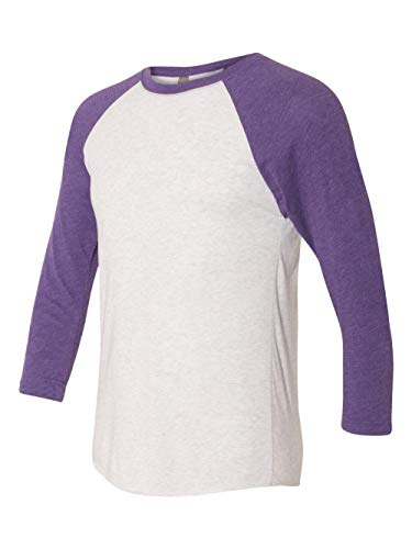Next Level Apparel 6051 Unisex Tri-Blend 3 by 4 Sleeve Raglan - Purple Rush & Heather White44; Large