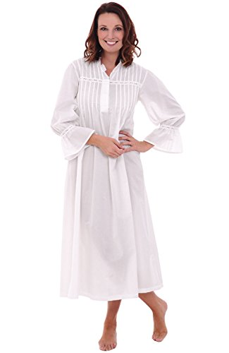 Alexander Del Rossa Womens Romeo and Juliet Cotton Nightgown, Bell Sleeve Victorian Sleepwear, Large White -