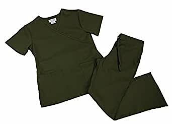Natural Uniforms Women Mock Wrap/Flare Pant Set Medical Scrub Set XS Olive