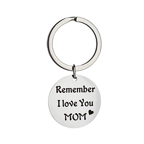 Daesar Stainless Steel Key Chains for Couples Keychain Personalized Round with Engraved Remember I Love You mom Women Keychain Charm