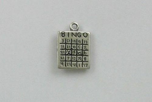 ndant Bracelet Sterling Silver Bingo Card Charm ()