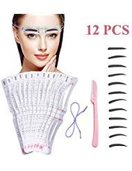 Eyebrow Stencil12 Pcs Reusable Eyebrow Template With Strap Eyebrow Shaping Kit Washable Eyebrow Assistant ToolEyebrows Grooming Stencil Kit Eyebrow Drawing Guide Card Microblading Template amp1 Rozor