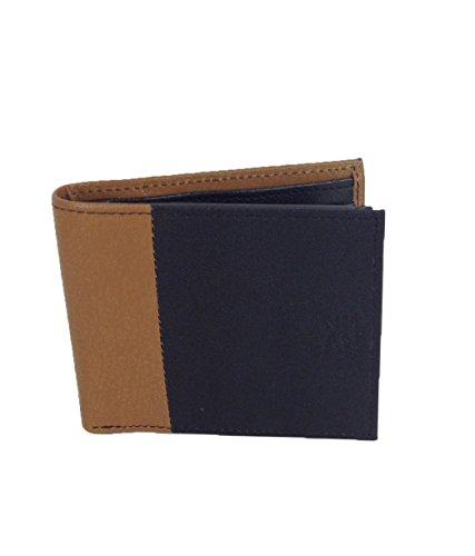 Nicole Miller Men's Leather Passcase Wallet, Black/Cognac