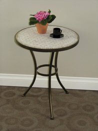 - 4D Concepts Travertine Round Top Coffee Table