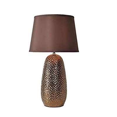 Table lamp Bedside, Nightstand Lamp with (Coffee) Fabric Shade and Ceramic for Bedroom, Living Room Modern, Office, Kids
