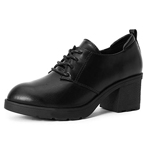 MAKEGSI Women's Platform Shoe Oxfords tip Lace up Chunky High Heel Thick Heel Shoes Dress Pumps (7, Black)