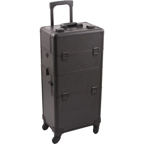 Hiker-HK6501-Pro-4-Wheels-2-In-1-Rolling-Makeup-Train-Case-Organizer-4-Tray-Dividers-Roomy-Space-Smooth-Black-1-Count