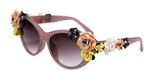 JYR Women Fashion Flower decoration Lunettes de soleil Charmming Beach Shades Lady Lunettes de soleil - Purple White DqmhVsO
