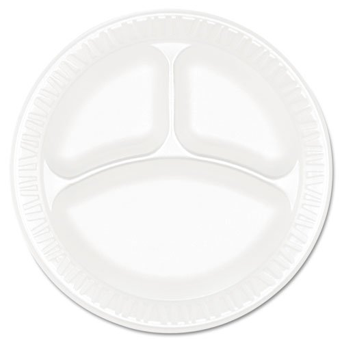 Dart Concorde Foam Plate, 3-Compartment, 9quot, White - Includes four packs of 125 each.