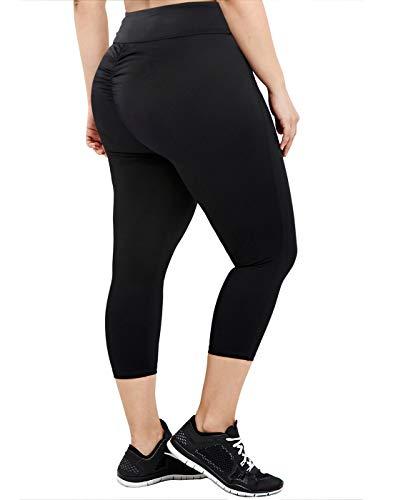 HDE Black Scrunch Butt Lifting Leggings Women Plus Size Workout Bottoms 2X