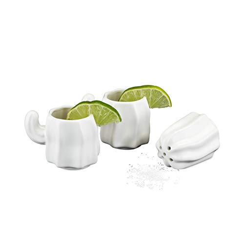 - Foster & Rye 5700 Ceramic Stacking Cactus Shot Glass with Salt Shaker, Multi Color
