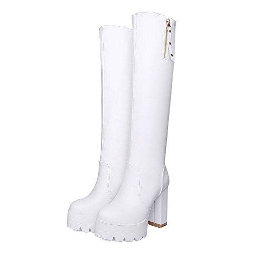 in bianco tinta Zipper Toe metallo Agoolar Heel Round unita rivetto con Boots Women in aU1qw1Px