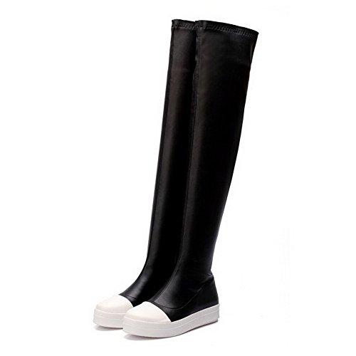 Boots toe Platform with and Sole Soft Women's WeiPoot Color Slipping Non Closed Black Assorted Material 4AHw0Y