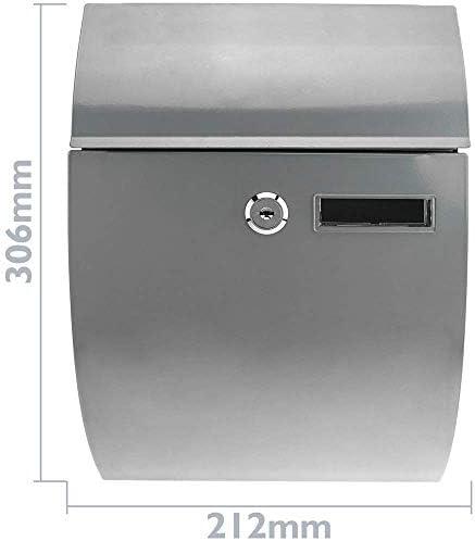 PrimeMatik Buz/ón met/álico para Cartas y Correo Postal de Color Gris 212 x 71 x 306 mm