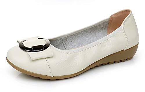 Women's Genuine Leather Comfort Ballet Flats Slip On Dress Shoes US Size 6.5 -