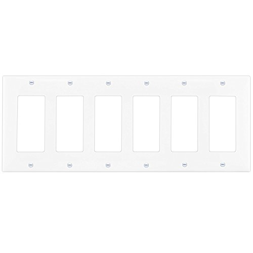 Decorator Light Switch GFCI Rocker Wall plate by Enerlites 8836M-W | Medium Size 6-Gang, White, Made of Unbreakable Poly-carbonate Plastic, Replacement Electrical Outlet Receptacle Panel Cover ()