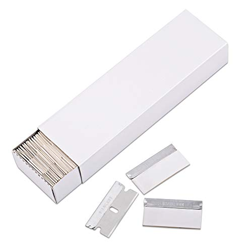 (Ehdis 100 Pack Single Edge Stainless Steel Safety Razor Blades for Scraper Scrapping Cutting Removing Universal Compatible)