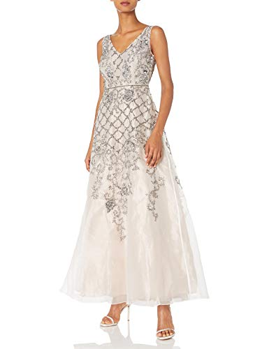 Adrianna Papell Womens Sleevless Beaded Organza V Neck Ball Gown