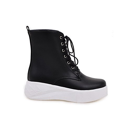 Low up Round Lace top Allhqfashion Women's Soft Black Material Closed Kitten Heels Toe Boots SqRqwvIt