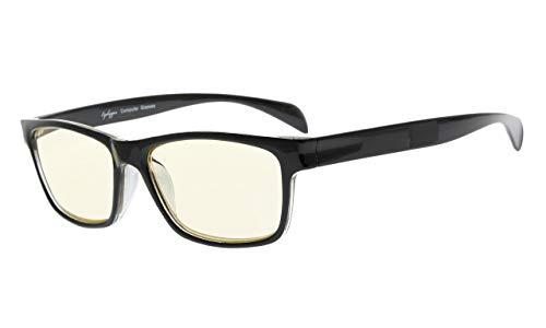 Eyekepper UV Light Filter (UV400) Protection Anti-Fatigue Computer Glasses Anti Blue Light Blocking Memory Flex Frame, Yellow Tinted Lenses (Black ()