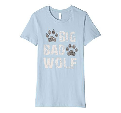 Womens Big Bad Wolf Paw Print Halloween Costume T-Shirt Small Baby Blue -