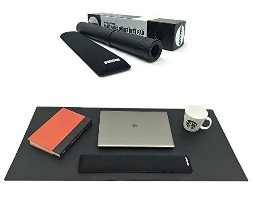 """DAECHE Leather Desk Pad & Wrist Rest Set for Computer Desk, 36""""x17.5"""" Black PU Leather Office Mat, Blotter, Large Mouse Pad Plus 17.5"""