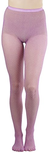ToBeInStyle Womens Spandex Seamless Glittery Fishnet Pantyhose Tights Hosiery - Lavender with Silver Glitter - One Size: Regular ()