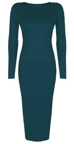 Femmes Célébrité inspiré Uni Manches Longues Midi Moulante Robe Mi-mollet -Taille 8-26 - Bleu, Femme, XL/XXL EU 48/50