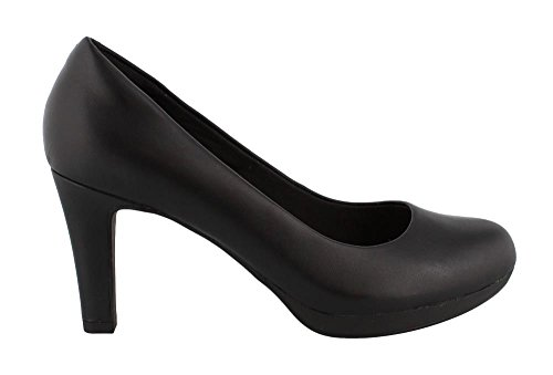 CLARKS Women's Adriel Viola Dress Pump, Black Leather, 8 M US