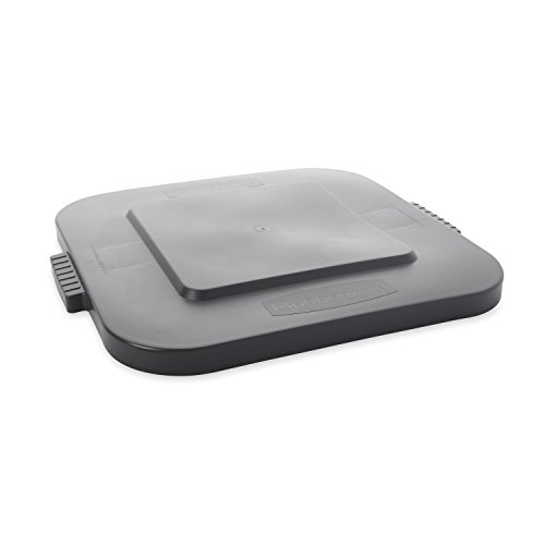 Rubbermaid Commercial Products BRUTE Square Bin Storage Container Lid, 28-Gallon, Gray (FG352700GRAY)
