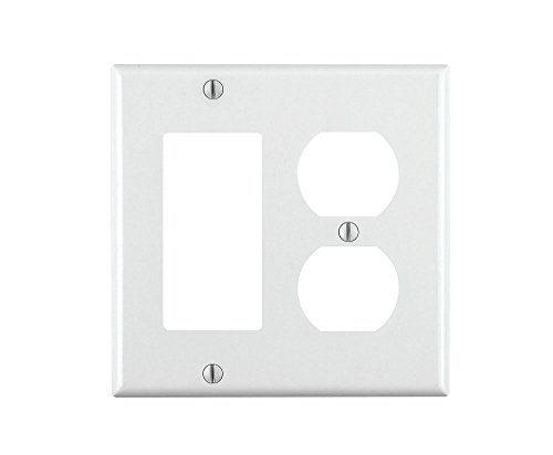 Leviton 80455-W 2-Gang 1-Duplex 1-Decora/GFCI Device Combination Wallplate, Standard Size, Thermoset, Device Mount, White