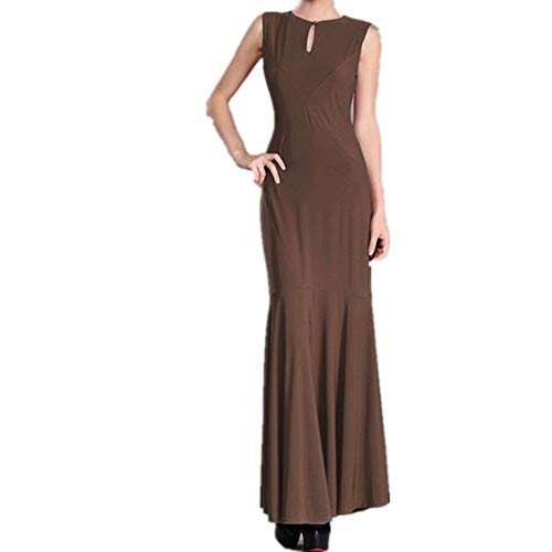 Red Robe Rond Color Pure Otprdirect Longue Coffee Ouvert col Color XL Size Dos Longue Femme Mince Jupe Y1qUEw7