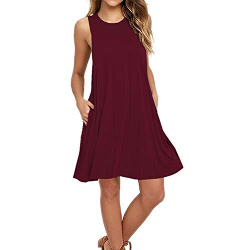 The Plus Project Women Plus Size Maternity Sleep Dress, Women's Summer Casual Sleeveless Long Plain Pleated Tank Vest Dresses T-Shirt Dress(Wine Red,XL)