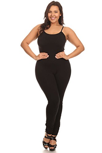 Women's Camisole Stretch Cotton Unitard(&Plus Size) (X-Large, Black) -