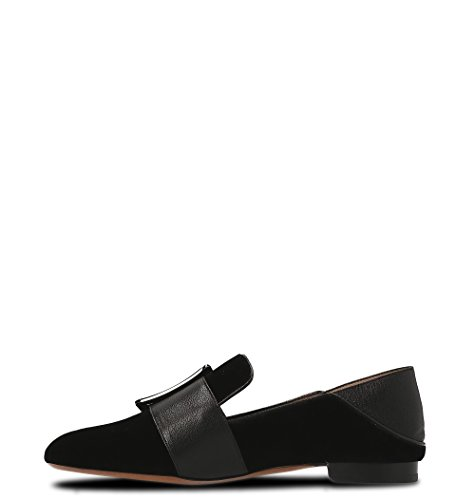 Bally Women's 62178990100 Black Suede Loafers ncm40