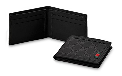 Gucci+Guccissima+Gomma+Rubberized+Leather+Compact+Bifold+Wallet%2C+Black+233157